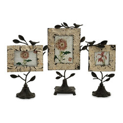 iMax - iMax Mona Photo Frames Set of 3 - Set of three romantic tin and iron photo fames in various sizes with bases and perched birds.