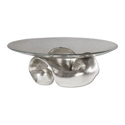 Uttermost - Entwined Silver Leaf & Glass Bowl - Lightly Champagned Silver Leaf With Clear Glass Bowl.