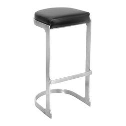 """Lumisource - Demi Barstool, Stainless/Black - 16.5"""" L x 15"""" W x 31.5"""" H           Seat height: 31.50"""""""