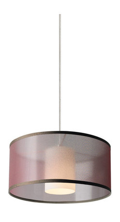 Tech Lighting - MOMini Dillon Pnd BN, ch - Translucent organza drum with inner glass cylinder to provide a soft wash of light. Includes lowvoltage, 50 watt halogen bipin lamp or 6 watt replaceable LED module and six feet of fieldcuttable suspension cable.
