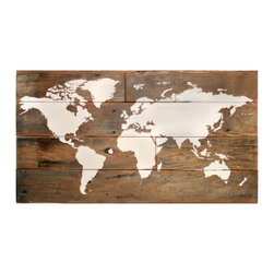 """Large Barn Wood World Map - This world map would be right at home with any travel lover - great for marking where you have been! It's large size (51"""" x 28"""") will make a bold statement in any room."""