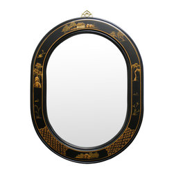 China Furniture and Arts - Chinoiserie Scenery Design Oval Mirror - Perfect for entryway or hallway above a cabinet or table, this fine oval mirror is framed in matte black wooden frame with gold-highlighted scenery design hand painted on it. Handcrafted by artisans in China. Mounting ware is included on the back.