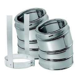 "M & G DURAVENT - 6"" Dura-Vent Duratech Stainless 15 Deg Elbow Kit, Includes 2 Adj Ss Elbows, 1 El - DuraVent Part Number: 9464KIT"
