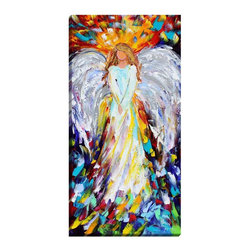 """DiaNoche Designs - Angel of Hope and Light Illuminated Wall Art - Illuminated Wall Art by Dianoche Designs, brings continuous art 24 hours a day. Art during the day... flip a switch, and at night, it is a light! Art by Karen Tarlton - Angel of Hope and Light. Dianoche Designs illuminates artwork from behind using LED's designed to last 50,000 hours. The """"Art Today, Light Tonight"""" concept gives each customer an opportunity to enjoy their artwork 24 hours a day! Dianoche Designs uses images from artists all over world and literally """"Brings to Light"""" their astonishing works. Your power cord can be hidden by a simple cable organizer or cable raceway, that commonly hides speaker wire on a wall. This can be purchased at any home improvement store and you can also paint over it."""