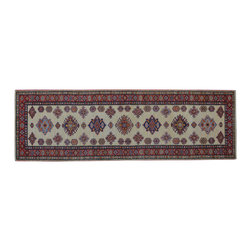 1800 Get A Rug - Ivory Super Kazak Runner 100% Wool Hand Knotted Oriental Rug Sh15281 - Our Tribal & Geometric Collection consists of classic rugs woven with geometric patterns based on traditional tribal motifs. You will find Kazak rugs and flat-woven Kilims with centuries-old classic Turkish, Persian, Caucasian and Armenian patterns. The collection also includes the antique, finely-woven Serapi Heriz, the Mamluk Afghan, and the traditional village Persian rug.
