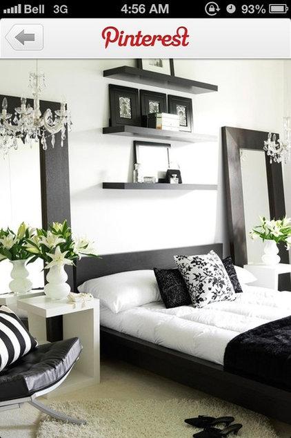 Black and white, grey, bedroom, chandeliers, modern, flowers, mirrors, floor mir
