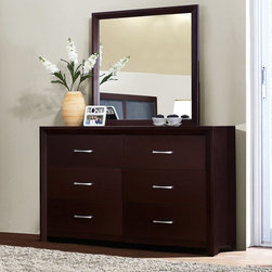 Homelegance - Bancroft 6 Drawer Dresser with Mirror - Espresso Dark Brown - 2145-5[D+M] - Shop for Dressers from Hayneedle.com! Add functional and stylish clothing storage to your bedroom with the contemporary Bancroft 6 Drawer Dresser with Mirror - Espresso. It features rubberwood construction a luxurious espresso finish and modern brushed silver hardware accents. The matching mirror reflects the same sleek style and makes it easy to get ready for the day. About Homelegance Inc.Homelegance takes pride in offering only the highest quality home furnishings that incorporate innovative design at the best value. From dining sets to mirrors sofas and accessories Homelegance strives to provide customers with a wide breadth and depth of selection as well as the most complete and satisfying service available for their category. Homelegance distribution centers are conveniently located throughout the United States and Canada.