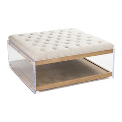"Zentique - Zentique Acrylic Ottoman - This Zentique ottoman offers a practical yet dramatic interior accent. Its button-tufted upholstered seat and hardwood shelf exude classic appeal, while acrylic sides deliver contemporary flair. 41""W x 40""D x 18""H; Natural linen; Reclaimed oak"