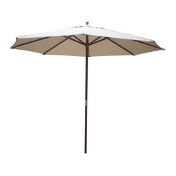 International Concepts - 9 ft. Market Umbrella w Wooden Pole - Attractively designed with a tan covering made of durable polyester, this 9-foot umbrella has a teak-finished, two-piece pole with a brass-plated connector for a simple yet classy look.  Resin hub, runner and finial add style and strength.  Unobtrusive in color, this tan canopy patio umbrella shelters you and your guests from the sun.  Canopy is made from 6-ounce polyester fabric.  There's also a brass-plated chain that works the pulley system. * 6 oz. Polyester fabric. 9 ft. with 8 ribs. 2 Section 38 mm. think pole. Brass plated connector. Resin hub and runner. Resin finial. 9-Pin and chain brass plated single pulley system. Resin knob at end of rope. 108 in. L x 108 in. W x 100 in. H (15 lbs.)