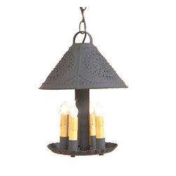 Irvin's Tinware - Britton Hanging Light - The Britton Light captures the simplicity of the candle burning eras with the ease of flipping a switch. Crafted as if it were to hold candles and then wired to allow for a wonderful amount of light.