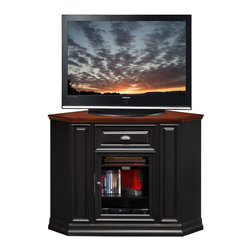 "Leick Furniture - 36""H x 46""W Corner TV Stand in Black Cherry Finish - This 46"" wide Corner TV Stand settles your TV back into the corner and reclaims valuable floorspace. Finished in a two-tone black and cherry with aged metalware accents, it is solidly built from solid wood and wood veneers and holds popularly sized TV's up to 46"". Tempered glass doors keep components dust free on three adjustable shelves. Beautifully engineered, this console assembles easily in minutes. Multiple component storage behind a decorative wood door; Beveled glassoor; Three adjustable component shelves; Full side return moldings; Cord management access; Knockdown; Simple assembly; Riley Holliday Collection; Material: Hardwood solids & oak veneers; Weight: 108 lbs; Dimensions: 20""L x 46""W x 36""H"