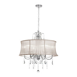Dainolite - Dainolite 615-270C-PC-117 6 Light Crystal Chandelier Pc Finish - Dainolite 615-270C-PC-117 6 Light Crystal Chandelier PC Finish Oyster Organza Bell Shade