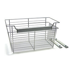 John Louis - Metal John Louis Basket - This durable satin nickel-wire storage basket is easy to mount in your 12-inch-deep closet organizer or tower. It is 24 inches wide,so it has plenty of room to store large,bulky items or to serve as a convenient laundry hamper.