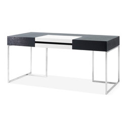 JNM Furniture - S101 Modern Office Desk - Design meets functionality in the S101 Modern office desk. Beautiful white high gloss, and Dark Oak provide  the perfect contrast, while the Chrome legs add a subtle touch of elegance.  Excellent design & Craftsmanship