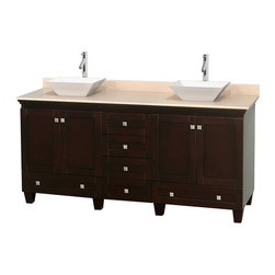 """Wyndham Collection - 72"""" Acclaim Double Vanity w/ Ivory Marble Countertop & Pyra White Porcelain Sink - Sublimely linking traditional and modern design aesthetics, and part of the exclusive Wyndham Collection Designer Series by Christopher Grubb, the Acclaim Vanity is at home in almost every bathroom decor. This solid oak vanity blends the simple lines of traditional design with modern elements like beautiful overmount sinks and brushed chrome hardware, resulting in a timeless piece of bathroom furniture. The Acclaim comes with a White Carrera or Ivory marble counter, a choice of sinks, and matching mirrors. Featuring soft close door hinges and drawer glides, you'll never hear a noisy door again! Meticulously finished with brushed chrome hardware, the attention to detail on this beautiful vanity is second to none and is sure to be envy of your friends and neighbors"""