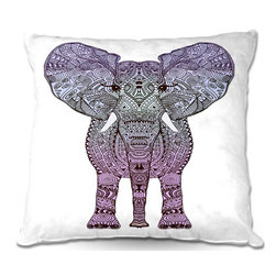 DiaNoche Designs - Pillow Linen - Monika Strigels Elephant Purple - Add a little texture and style to your decor with our Woven Linen throw pillows. The material has a smooth boxy weave and each pillow is machine loomed, then printed and sewn in the USA.  100% smooth poly with cushy supportive pillow insert with a hidden zip closure. Dye Sublimation printing adheres the ink to the material for long life and durability. Double Sided Print, machine wash upon arrival for maximum softness. Product may vary slightly from image.