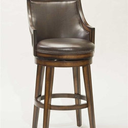 Hillsdale Furniture - Swivel Stool (26 in. Counter Height) - Choose Size: 26 in. Counter HeightGently sloping armsSquare backTapered legsBrown vinyl on seat and back. 22 in. W x 23 in. D x 40 in. H (38 lbs.)Traditional with a contemporary edge, the Hillsdale Furniture Lyman Swivel Stool is a handsome addition to any bar or kitchen area. Gently sloping arms compliment the square back and tapered legs, while durable brown vinyl covers the seat and back. A rustic oak finish with burnished edges completes the look of this stunning stool. Constructed of hardwood with veneer, some assembly required.