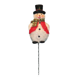 Alpine - Tinsel Snowman with 50 Lights Garden Stake - 16 x 60 inch - Features: