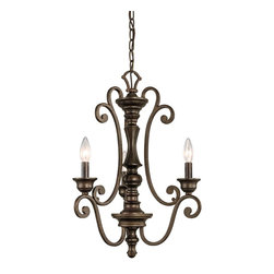 Kichler Lighting - Kichler Lighting 43278TRZ Mithras 3-Light Traditional Chandelier - Romantic curves and refined styling make this convertible 3 light chandelier or semi flush ceiling fixture from the Mithras collection an elegant showpiece. Featuring a unique Terrene Bronze™ finish, this design will elevate and enhance your home.