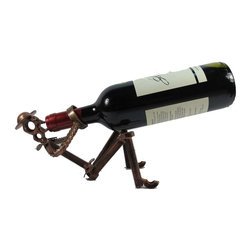 Wine Bottle Holder, Don Quixote Drinking, Handcrafted Metal Art - -Handmade by Artisans in Mexico *unique piece*