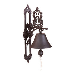 Doorbell Classic Antique Brown - Don't make your friends knock on the door. Instead, let them ring a bell! With a cotton pull-string and dainty scroll work, this cast iron door bell is enough to make a first impression at the front door.
