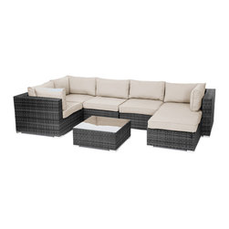 "Reef Rattan - Reef Rattan London 7 Pc Sectional Sofa Set - Grey Rattan / Beige Cushions - Reef Rattan London 7 Pc Sectional Sofa Set - Grey Rattan / Beige Cushions. This patio set is made from all-weather resin wicker and produced to fulfill your needs for high quality. The resin wicker in this patio set won't fade, shrink, lose its strength, or snap. UV resistant and water resistant, this patio set is durable and easy to maintain. A rust-free powder-coated aluminum frame provides strength to withstand years of use. Sunbrella fabrics on patio furniture lends you the sophistication of a five star hotel, right in your outdoor living space, featuring industry leading Sunbrella fabrics. Designed to reflect that ultra-chic look, and with superior resistance to the elements in a variety of climates, the series stands for comfort, class, and constancy. Recreating the poolside high end feel of an upmarket hotel for outdoor living in a residence or commercial space is easy with this patio furniture. After all, you want a set of patio furniture that's going to look great, and do so for the long-term. The canvas-like fabrics which are designed by Sunbrella utilize the latest synthetic fiber technology are engineered to resist stains and UV fading. This is patio furniture that is made to endure, along with the classic look they represent. When you're creating a comfortable and stylish outdoor room, you're looking for the best quality at a price that makes sense. Resin wicker looks like natural wicker but is made of synthetic polyethylene fiber. Resin wicker is durable & easy to maintain and resistant against the elements. UV Resistant Wicker. Welded aluminum frame is nearly in-destructible and rust free. Stain resistant sunbrella cushions are double-stitched for strength and are fully machine washable. Removable covers made with commercial grade zippers. Tables include tempered glass top. 5 year warranty on this product. PLEASE NOTE: Throw pillows are NOT included. Corner Chairs (3): W 33.5"" D 34"" H 26"", Center Chairs (2): W 27.5"" D 34"" H 26"", Ottoman with Cushion: W 26"" 26"" 12"", Coffee Table: W 26"" D 26"" H 12"""