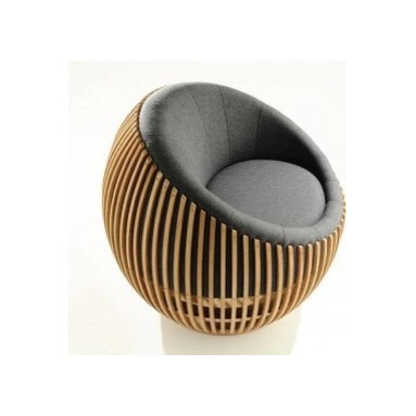 Eco Friendly Furnture and Lighting - Baton Chair.Round Chair on low revolving base. Made from hand-carved batons of solid Oak. Scooped seat upholstered in wool felt.