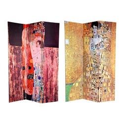 Oriental Unlimted - Reversible 6 ft. Block Bauer/3 Ages of Woman - One double-sided divider, both sides shown in image. Embrace the delicacy of feminine beauty with 2 jaw-dropping masterpieces by turn of the century Art Nouveau Symbolist Gustav Klimt. On the front is the breathtaking Portrait of Adele Bloch-Bauer, circa 1907, a reproduction of the gilded Jungendstil style masterpiece, featuring the only model Klimt ever painted twice amidst a sea of gold and silver. On the back is The Three Ages of Woman, circa 1905, in which the master Symbolist captures the intangible sentiment of motherly love. These 2 masterworks, brimming with detail and emotion, will bring the panache of the Belle +poque to your living room, bedroom, dining room, home office or business. This 3 panel screen has different images on each side. High quality wood and fabric covered room divider. Well constructed, extra durable, kiln dried Spruce wood frame panels, covered top to bottom, front, back and edges. With tough stretched poly-cotton blend canvas. 2 Extra large, beautiful art prints - printed with fade resistant, high color saturation ink, creating 2 stunning, long lasting, vivid images, powerful visual focal points for any room. Amazingly inexpensive, practical, portable, decorative accessory. Almost entirely opaque, double layer of canvas, providing complete privacy. Easily block light from a bedroom window or doorway. Great home decor accent - for dividing a space, redirecting foot traffic, hiding unsightly areas or equipment, or for providing a background for plants or sculptures, or use to define a cozy, attractive spot for table and chairs in a larger room. Assembly required. 15.75 in. W x 70.88 in. H (each panel)