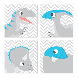 Nursery Code - Dinosaur Art Print on Canvas - Dinosaurs on Chevron - 4 Frames, Blue, 14 X 14 - Four minimal dinosaur illustrations on chevron background.