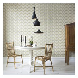 Graham & Brown - Ling Wallpaper - The eastern design inspires the trellis effect of geometric wallpaper, the mix of textures and heights within the design give a stunning three dimensional effect and the metallic highlights add a touch of decadence. The beige and green blends really well which will add warmth to your home.
