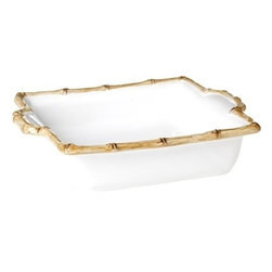 """Juliska - Juliska Classic Bamboo Square Baker Natural - Juliska Classic Bamboo Square Baker NaturalMake a fashionable entrance to parties with this madly stylish bamboo-rimmed dish that elevates baked dishes to haute cuisine. Dimensions: 11.5"""" L x 10'W Capacity: 1.5 Qt"""