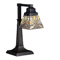 """Meyda Tiffany - Meyda 20""""H Glasgow Bungalow Desk Lamp - This Meyda Tiffany original two light desk lamp is inspired by the art and architecture of Charles Rennie Mackintosh and the Glasgow school of art. Amber-Mauve and Gold stained glass make up the intricate patterned shades that are suspended from Mission style hardware in a warm Mahogany Bronze finish."""