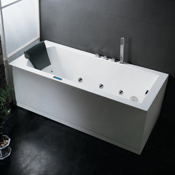"Ariel - Ariel AM154JDTSZ-R-70 White Platinum Platinum Whirlpool Bath Tub 70"" x - Platinum Whirlpool Bath Tub 70"" x 31.5"" with Roman Tub Filler Faucet and Right Hand Drain Imagine the sensation to dip your entire body in this simple yet fashionably elegant whirlpool bathtub. Within this deep tub are a set of superior hydro-massage jets specifically designed to target the user s pressure points to give a therapeutic soothing effect with a modern touch of sophistication. Equipped with our elegant LED chromatherapy lighting system and touch sensitive LCD control panel, we are confident that this product will make you leave feeling renewed and refreshed. Ariel AM154JDTSZ-70-R Features:  ETL listed (US & Canada electrical safety) 110v Whirlpool Bath System 2 HP Whirlpool Motor Ozone Disinfecting Cleaning System One Piece, Seamless Design Handheld Showerhead Included 21 Whirlpool Massage Jets 6 Massage Modes 4 Intensity Options Chromatherapy Lighting LCD Touch Screen Control Panel FM Radio 1 Cushioned Pillow Auto Pipe Cleaner Double Drain System Heat Pump  Ariel AM154JDTSZ-70-R Specifications:  Length: 70"" Width: 31.5"" Height: 33.86"""