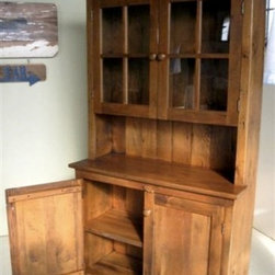 6'FT High Salvaged Rustic  Barn Wood Hutch With Glass Doors - Made by http://www.ecustomfinishes.com