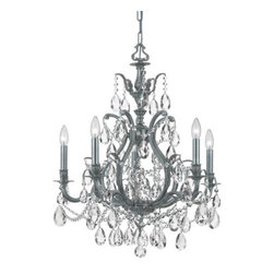 Crystorama - Crystorama 5575-PW-CL-SAQ Dawson 5 Light Chandeliers in Pewter - We threw traditional a curve in creating Dawson, a collection of cast brass chandeliers and wall sconces with traditional castings, contemporary curves, modern finishes and sparkling cut crystal.