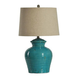 Turquoise Ceramic Jug Lamp - This bright and cheery turquoise jug lamp is the perfect