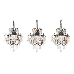 "The Gallery - CHANDELIERS WROUGHT IRON CRYSTAL CHANDELIER ISLAND PENDANT LIGHTING H14"" W11... - ***THIS LISTING IS FOR A SET OF 3***** 100% Crystal Wrought Iron Chandelier. A Great European Tradition. Nothing is quite as elegant as the fine crystal chandeliers that gave sparkle to brilliant evenings at palaces and manor houses across Europe. This beautiful chandelier from the Versailles Collection has 1 light and is decorated and draped with 100% crystal that capture and reflect the light of the candle bulb. The frame is Wrought Iron, adding the finishing touch to a wonderful fixture. The timeless elegance of this chandelier is sure to lend a special atmosphere anywhere its placed! Please note this item requires assembly. This item comes with 18 inches of chain. Lightbulbs not included.1 LIGHT PER ITEM.Size : H14"" W11"" ***THIS LISTING IS FOR A SET OF 3*****"