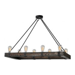 Ren-Wil - Ren-Wil LPC088 Wood finish Salvatore Wood Chandelier by Jonathan Wilner - The Salvatore Wood Chandelier features eight lights set in a wood and iron finished base. Retro bulbs included.
