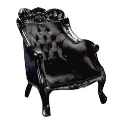 Black velvet baroque chair - This divine French inspired chair is painted with a black lacquer finish, upholstered in beautiful black velvet and tufted with dazzling crystals for that classic monochromatic appeal with a touch of glam. As with many of our items, it can be customized to make it truly unique and yours alone!