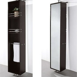 Wyndham Collection(R) - April Rotating Floor Cabinet with Mirror by Wyndham Collection - Espresso - April Rotating Floor Cabinet with Mirror takes modern looks and bathroom storage to the next level with its clever design. Featuring a space-saving design which rotates 360 degrees this cabinet combines a full length mirror on one side with three large storage spaces and integrated towel racks on the other. This unit mounts to the floor and wall and metal mounting hardware is included.Available in multiple finishes. The Wyndham Collection is an entirely unique and innovative bath line. Sure to inspire imitators, the original Wyndham Collection sets new standards for design and construction. Features 8-stage painting and finishing process Wall- and Floor-mounted storage cabinet Rotates 360° on floor-mounted post Mirrored fully on one side Metal hardware with chrome finish Two shelves, two towel bars Spec Sheet Installation Guide for Cabinet Installation Guide for Undermount Sinks --> Installation Guide for Vessel Sinks --> Installation Guide for Mirrors -->