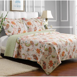Greenland Home Fashions - Greenland Home Fashions Barcelona Quilt Set - GL-1401MMST - Shop for Bedding Sets from Hayneedle.com! A blowing pattern of blossoms and leaves gives the Greenland Home Fashions Barcelona Quilt Set the light summery feeling you get from a stroll down Barcelona's Las Ramblas. This carefree pattern is printed on a quilt and matching shams each made with a high-quality 100% cotton face back and fill. Machine-stitched quilting adds durability and a charming texture while the oversized shape of the comforter gives you full coverage on today's deeper mattresses. This set is offered in several sizes and is machine washable.Product Dimensions:Twin comforter: 88L x 68W in. Full/queen comforter: 90L x 90W in.King comforter: 95L x 105W in.Small sham: 20L x 26W in.Large sham: 20L x 36W in.About Greenland Home FashionsFor the past 16 years Greenland Home Fashions has been perfecting its own approach to textile fashions. Through constant developments and updates - in traditional country and more modern styles the company has become a leading supplier and designer of decorative bedding to retailers nationwide. If you're looking for high-quality bedding that not only looks great but is crafted to last consider Greenland.
