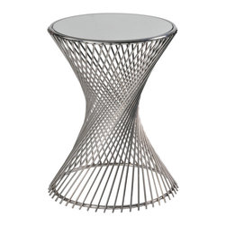 Renwil - Jasmin Mirror Top Stainless Steel Accent Table - A flat round mirror tops this Jasmin end table,made of curved and twisted stainless steel to create a contemporary spiral effect. The polished stainless steel complements the mirrored top to create a modern,stylish piece for any decor.