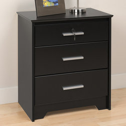 "Prepac - Coal Harbor Black Tall & Wide 3 Drawer Night Stand with Lock - Accent your bedroom with our sophisticated Coal Harbor Tall & Wide 3 Drawer Nightstand with Lock Constructed from composite woods and finished in sleek black or rich espresso laminates, this night stand offers 3 inset drawers, two full-size and one shallow, each with a trendy, 6"" long rectangular handle in matte metal. The night stands MDF top has been finished with bevelled edges, while the base features angled cut-outs, enhancing the clean, contemporary style. The shallow top drawer is equipped with a lock to enhance your personal privacy. This piece offers width without bulk: at 24"" wide, its the perfect storage solution for small spaces. This product ships Ready to Assemble"" and includes an instruction booklet for easy assembly."
