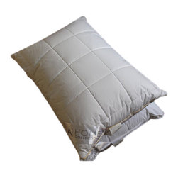 None - Hypoallergenic Quilted Box-patterned Microfiber Jumbo-size Pillows (Set of 2) - Featuring a quilted box pattern,these pillows offer great firmness and support. These pillows are made of high-quality microfiber,giving them ideal softness and perfect fill power,similar to a down pillow.
