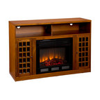 Holly & Martin - Akita Media Electric Fireplace, Glazed Pine - Contemporary styling, modern conveniences and the relaxing glow of fire are all combined into this luxurious piece. Finished with a rich espresso stain, the firebox itself is framed in by a cabinet with an adjustable shelf on each side. Above is an open shelf, divided in two by the center support structure. The open shelf includes two rear openings, one in each section, for cord management making it ideal for all of your media equipment or game consoles. Portability and ease of assembly are just two of the reasons why our fireplace mantels are perfect for your home. Requiring no electrician or contractor for installation allows instant remodeling without the usual mess or expense. Use this great functional fireplace to make your home a more welcoming environment.