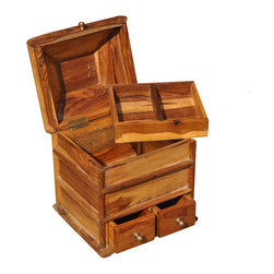 Sierra Living Concepts - Rustic Solid Teak Wood Multi Section Jewelry Box - Keeping your fine jewelry organized is easy with our Rustic Multi Section Jewelry Box. This hand crafted solid hardwood treasure box has two small bottom drawers, perfect for rings, earrings, and cuff links, a large middle section, and a top two compartment tray that swivels out.
