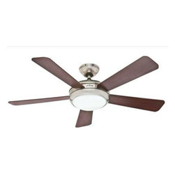 "Hunter Fan Company - 52"" Palermo RC Ceiling Fan - Palermo - 52"" Brushed Nickel Finish with Maple/Cherry Blades - Model: 21627 - Contemporary - Large Room - Hunter combines 19th century craftsmanship with 21st century design and technology to create ceiling fans of unmatched quality  style  and whisper-quiet performance. Using the finest materials to create stylish designs  Hunter ceiling fans work beautifully in today's homes and can save up to 47% on cooling costs!  Brushed Nickel Finish.  Maple / Cherry Blades.  Motor Type: WhisperWind Motor.  Number of Bulbs: 1 Compact Fluorescent bulb(s).  12  Blade pitch.  Number of Blades: 5.  3 Position Mounting.  CFM High: 6707.  RPM High: 187.  Bulb Watts: 22W.  ENERGY STAR.  Light fixture included.  Limited Lifetime Warranty.  Remote control included.  This item cannot be shipped to APO/FPO addresses. Please accept our apologies."