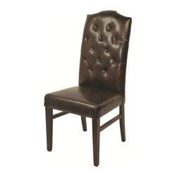 None - Leather Mocha Tufted High Back Chair - Featuring a button tufted back in luxurious leather upholstery,this high back chair is perfect for your home. The natural legs and mocha upholstery provide a refined display that works well with any home decor.