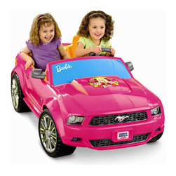 Fisher-Price - Power Wheels Barbie Mustang - Features: -Barbie Mustang. -Seats 2 children with a powerful 12 Volt battery. -New sophisticated Barbie colors and graphics. -Detailed styling on the hood. -Feels like the real thing. -Includes a pretend radio with pre-recorded music and engine sounds that rev when the key it turned. -Lights flash and dance on the dashboard when the music plays and/or when the key is turned. -Adjustable seats and cup holder.