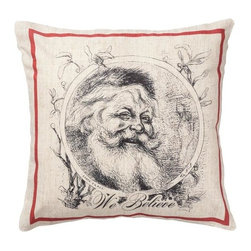 "Exposures - Old World Santa Pillow - Overview Add a festive accent to a chair or bench with this decorative Christmas pillow. Custom designed exclusively for Exposures, this pillow captures the magic of the holiday season in a classic depiction of St. Nick himself. An attractive and practical holiday dcor element, this durable linen pillow makes the perfect addition to your home, or a thoughtful holiday gift.    Features Linen pillow Custom designed just for Exposures Washable cover zips off Specifications Measures 14"" x 14"""